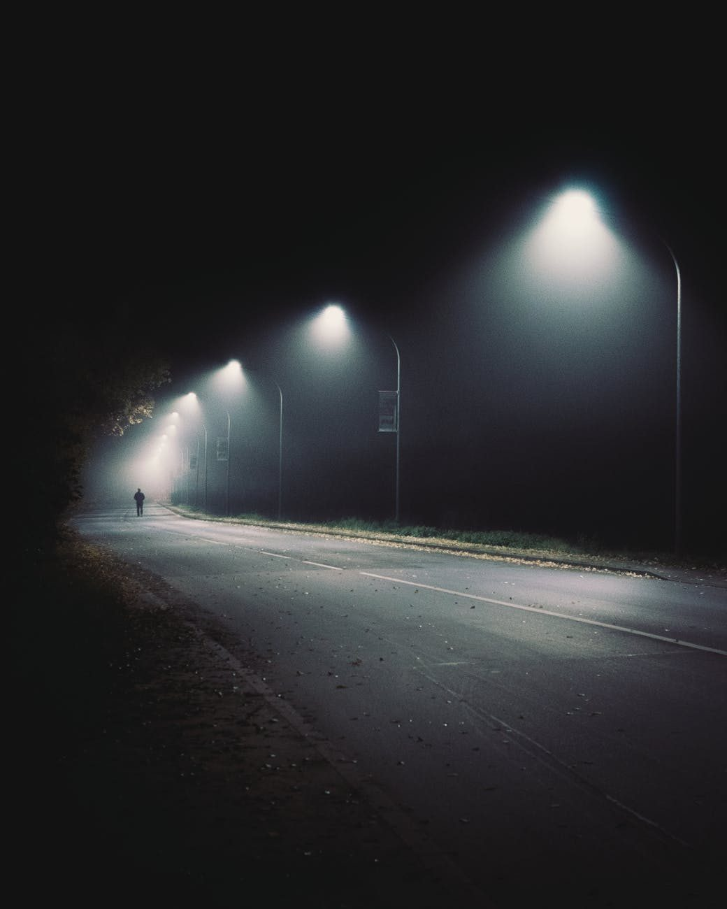 wide road with street lights